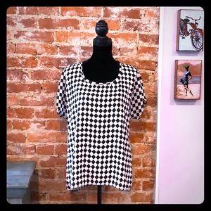Pleione Black + White Checkered Blouse